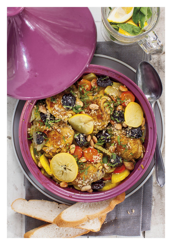 Tajine kip met aardappels en pruimen