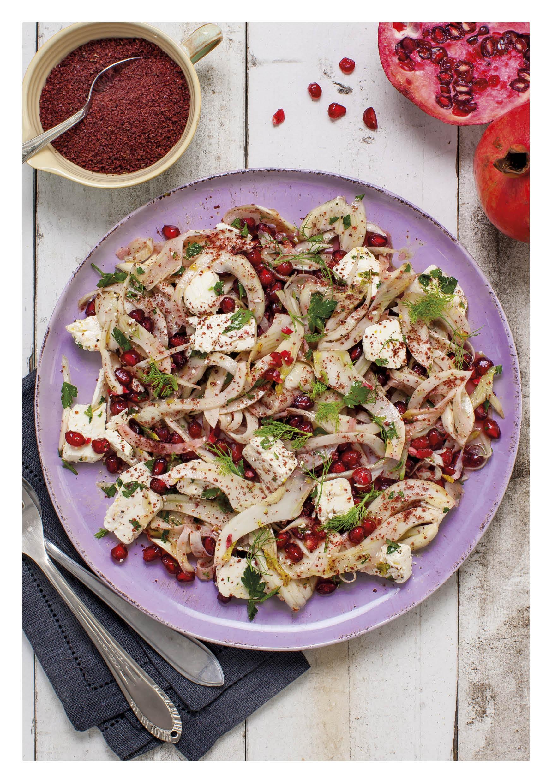 Venkel salade met Griekse feta en granaatappeltjes